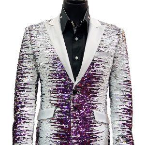 Angelino Mens Purple White Silver Gradient Sequin Satin Lapel Party Fun Blazer