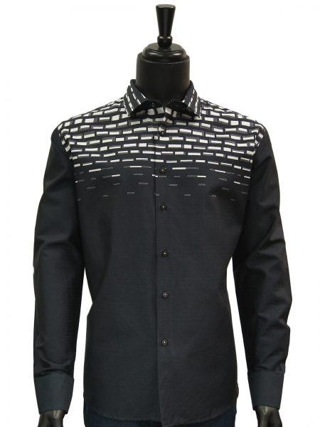 Mens Navy Blue White Engineered Print Dress Casual Fashion Trendy Cotton Shirt