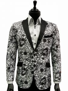 Manzini Mens Black White Sequin Embellished Paisley Design Fancy Dress Blazer