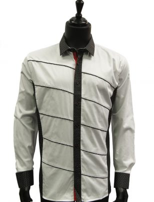 Mens White Black Polka Dot Aysemetrical Design Dress Casual Trendy Cotton Shirt