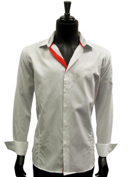 Mens White Black Polka Dot Pattern Reversible Cuffs Dress Casual Cotton Shirt