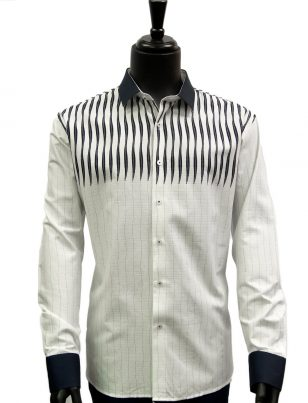 Mens White Navy Blue Striped Dress Casual Fashion Trendy Cotton Shirt