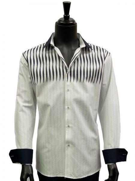 Mens White Navy Blue Striped Dress Casual Fashion Trendy Cotton Shirt
