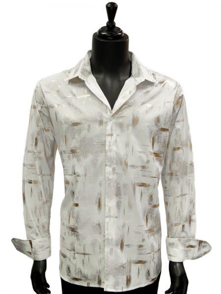 Mens White Gold Striped Paint Stroke Design Dress Casual Fashion Trendy Shirt