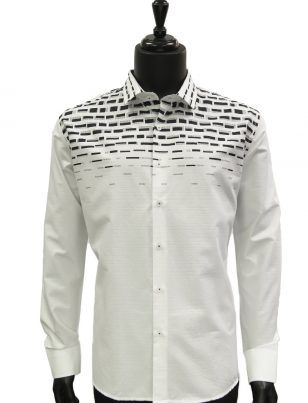 Mens White Navy Blue Engineered Print Dress Casual Fashion Trendy Cotton Shirt
