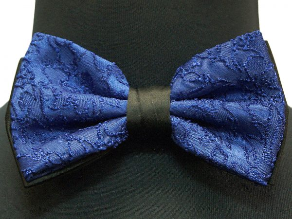 Blue Black Lace Design Stretch Strap Bowtie with Handkerchief
