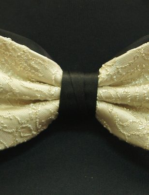Cream Black Lace Pattern Stretch Strap Bowtie with Handkerchief