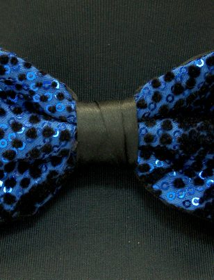 Blue Black Sequin Polka Dot Pattern Stretch Party Bow Tie