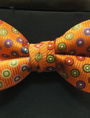 Stacy Adams Orange Multicolor Polka Dot Pattern Bow Tie with Handkercheif