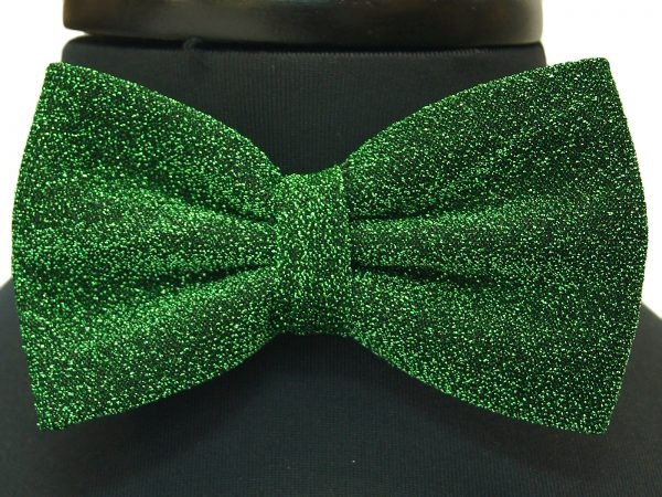 Solid Green Glitter Party Adjustable Bow Tie with Handkerchief