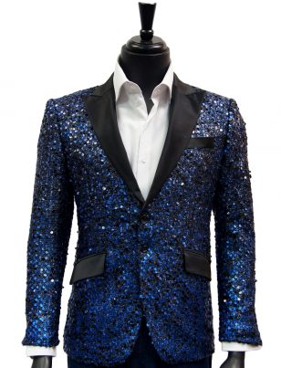 Angelino Men Blue Black Sequin Satin Lapel Fun Trendy Party Dress Casual Blazer