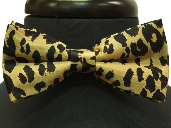 Black Tan Cheetah Print Adjustable Bow Tie with Handkerchief