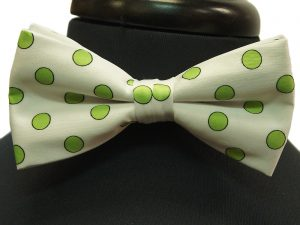 White Lime Green Polka Dot Pattern Adjustable Bow Tie with Handkerchief