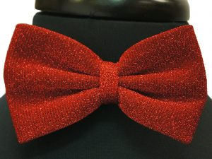 Solid Red Glitter Party Adjustable Bow Tie with Handkerchief
