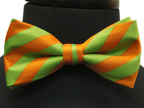Lime Green Orange Striped Pattern Adjustable Bow Tie with Handkerchief