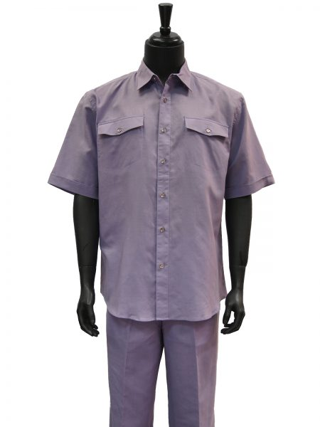 Lanzzino Mens Lavender Linen Two Piece Short Sleeve Walking Suit