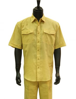 Yellow dress shirt with khakis of carmel