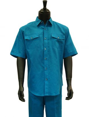 Lanzzino Mens Teal Blue Linen Two Piece Short Sleeve Walking Suit