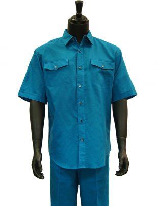 Lanzzino Mens Teal Blue Linen Two Piece Short Sleeve Walking Suit