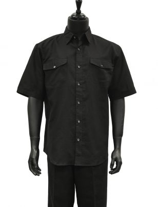 Lanzzino Mens Black Linen Two Piece Short Sleeve Walking Suit