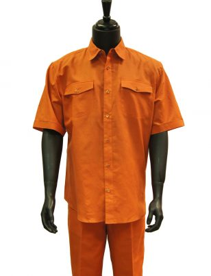 Lanzzino Men Tangerine Orange Linen 2 Piece Short Sleeve Casual Walking Suit