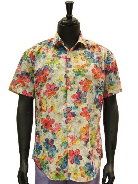 Lanzzino Mens Rainbow Floral Pattern Hawaiian Style Short Sleeve Shirt