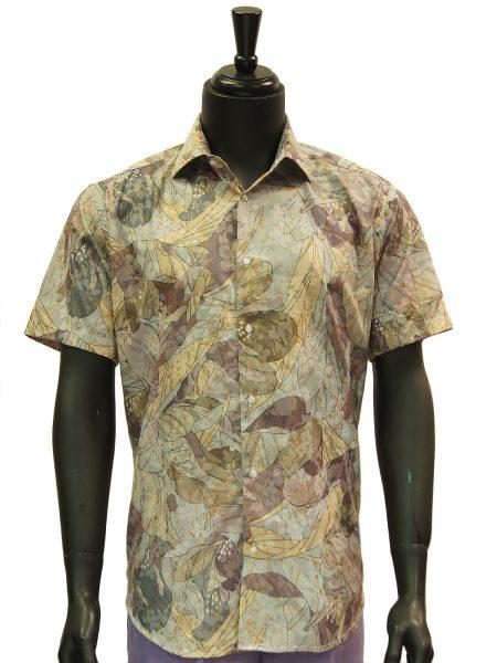 Lanzzino Mens Grey Floral Pattern Hawaiian Style Short Sleeve Shirt