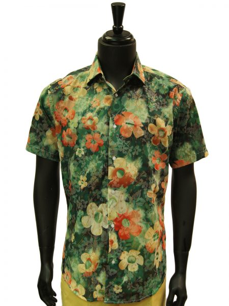 Lanzzino Mens Olive Green Floral Pattern Hawaiian Style Short Sleeve Shirt