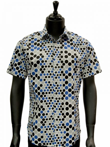 Lanzzino Mens Blue Black Gray White Polka Dot Cotton Short Sleeve Casual Shirt