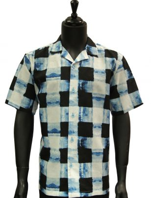 Stacy Adams Navy Blue Black White Gingham Pattern Short Sleeve Casual Shirt