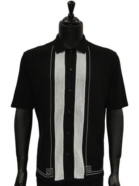 SilverSilk Black White Striped Lightweight Short Sleeve Polo Cardigan Sweater
