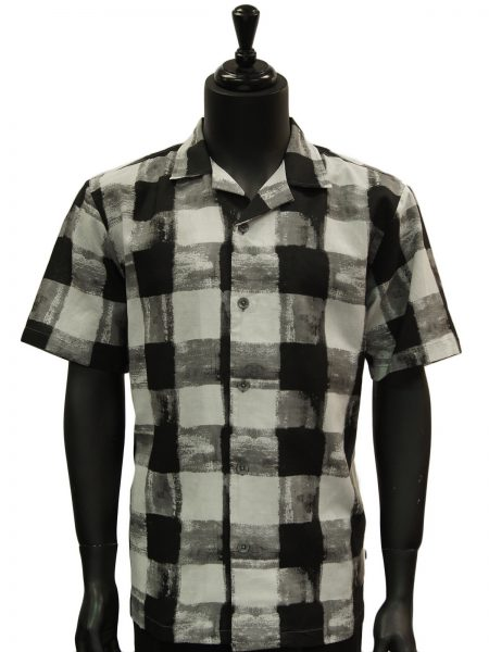 Stacy Adams Black Gray White Gingham Pattern Cotton Short Sleeve Casual Shirt