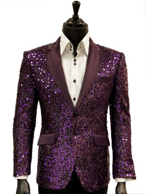 Angelino Mens Purple Sequin Bling Satin Lapel Fun Trendy Casual Formal Blazer