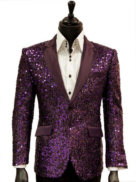 Angelino Mens Purple Sequin Bling Satin Lapel Fun Trendy Casual Formal Blazer