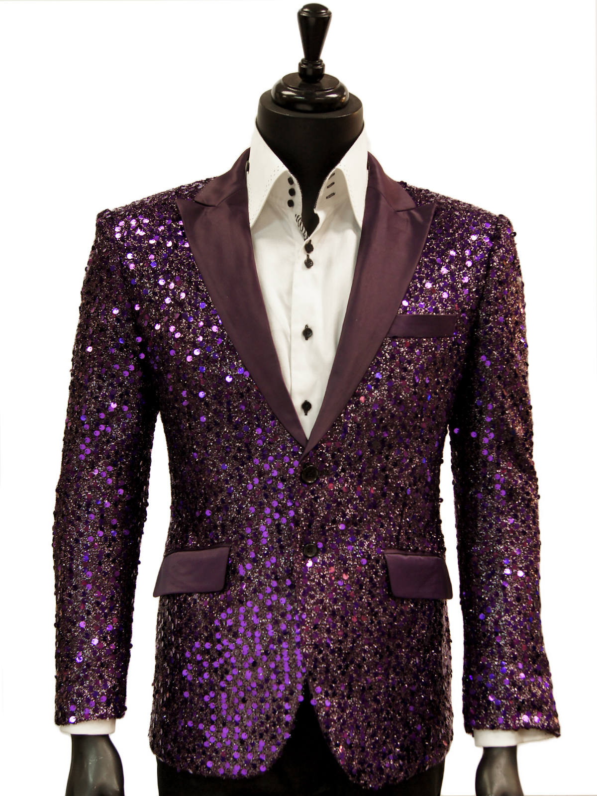 c0fd8300 Angelino Mens Purple Sequin Bling Satin Lapel Fun Trendy Casual Formal  Blazer - Ultimate Menswear