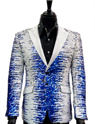 Angelino Men Blue White Silver Sequin Satin Lapel Bling Fun Party Trendy Blazer