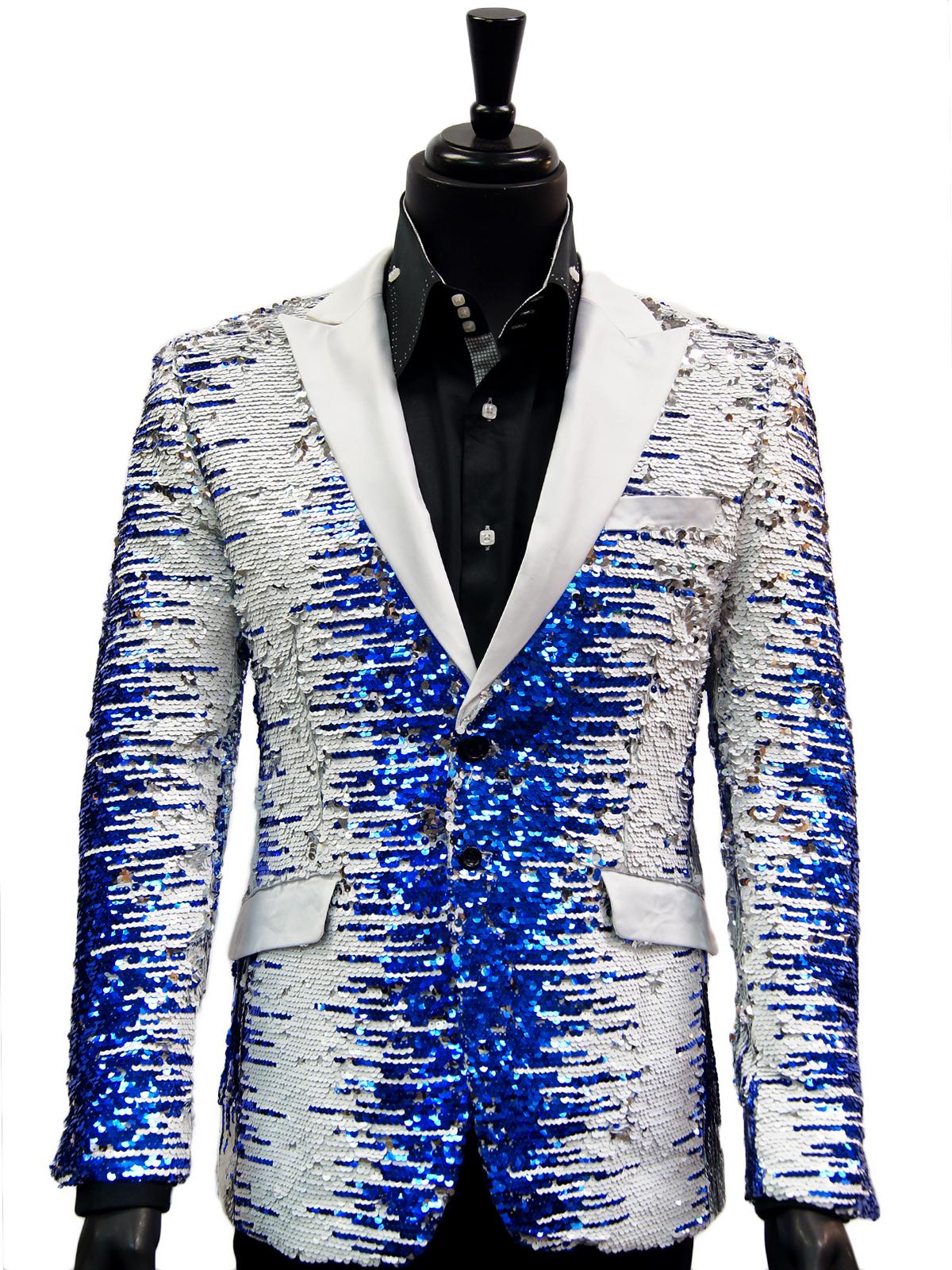 Angelino Men Blue White Silver Sequin Satin Lapel Bling Fun Party Trendy Blazer