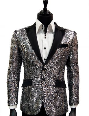 Angelino Men Silver Black Sequin Satin Lapel Fun Trendy Party Dress Blazer