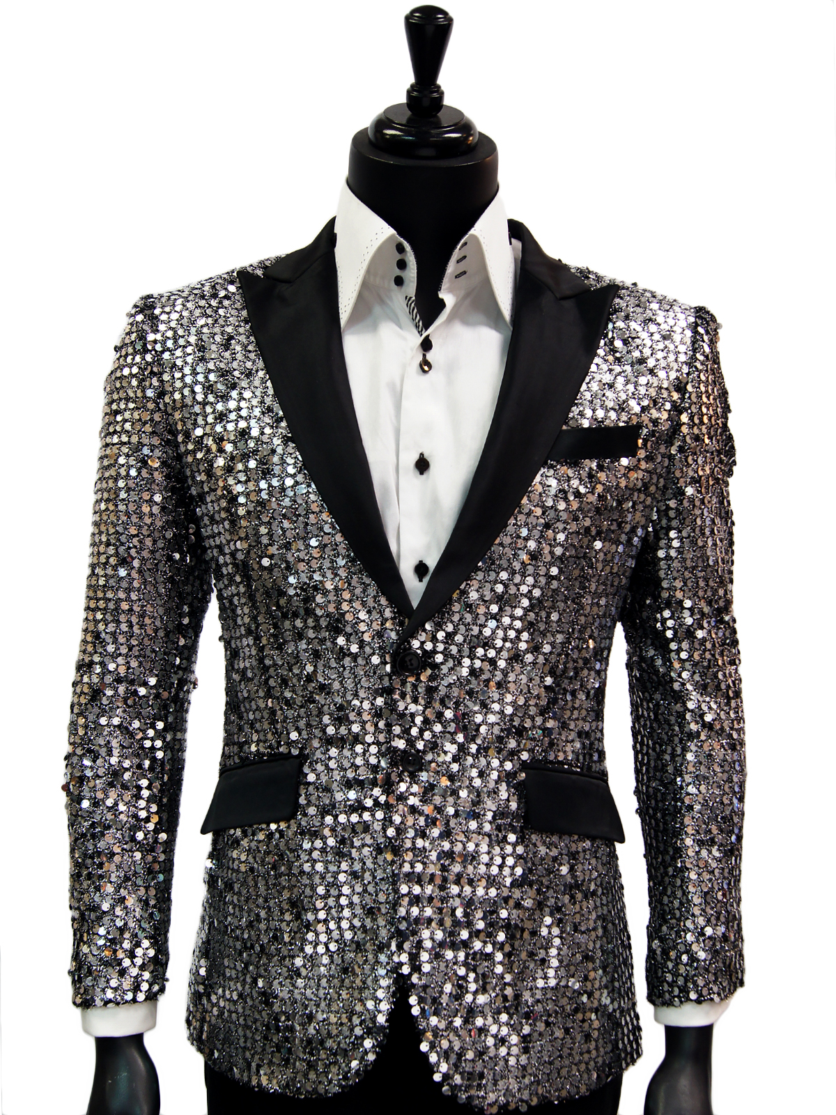 Angelino Men Silver Black Sequin Tux Satin Lapel Fun Trendy Party Formal Blazer | eBay