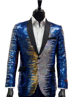 Manzini Mens Unique Rainbow Colorful Sequin Dress Trendy Blazer