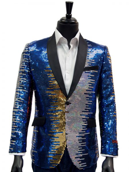 Manzini Mens Unique Rainbow Colorful Sequin Dress Trendy Blazer