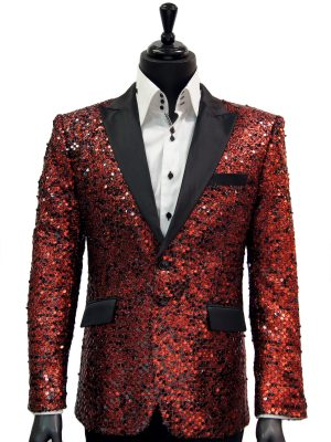 Angelino Men Red Black Sequin Satin Lapel Fun Trendy Party Dress Blazer