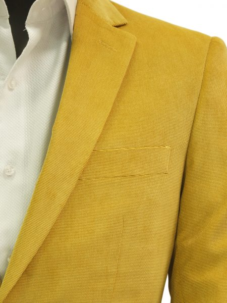 Afazzy Mens Mustard Yellow Chenille Textured Two Button Dress Blazer