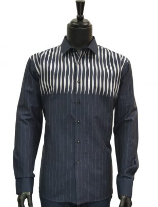 Mens Navy Blue White Striped Dress Casual Fashion Trendy Cotton Shirt