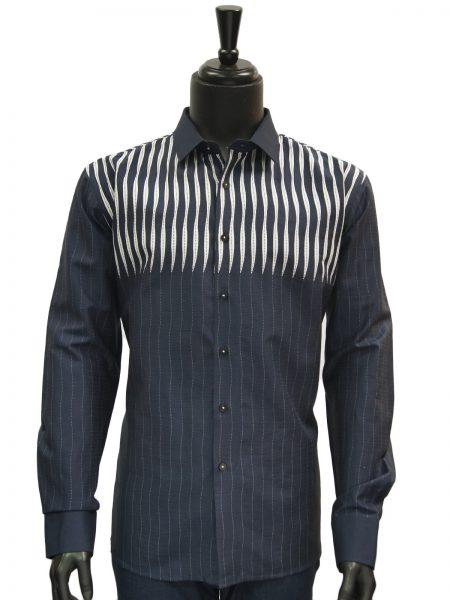 Mens Navy Blue White Striped Dress Casual Fashion Trendy Cotton Shirt