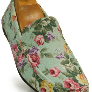 Stacy Adams Mint Green Multicolored Floral Design Casual Fun Canvas Loafer Shoe