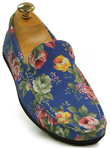 Stacy Adams Blue Multicolored Floral Design Casual Fun Canvas Loafer Shoe