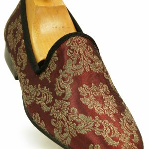 Stacy Adams Metallic Burgundy Gold Elegant Tapestry Pattern Slip On Loafer Shoe