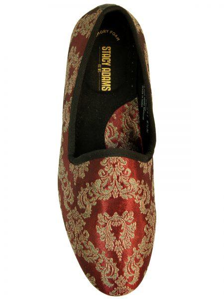 Stacy Adams Metallic Burgundy Gold Elegant Tapestry Pattern Slip On Loafer Shoe