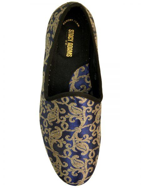Stacy Adams Venice Blue Gold Elegant Tapestry Pattern Slip On Loafer Shoe